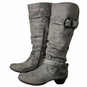 Pikolinos Tan Leather MidCalf Scrunch Strap Boots